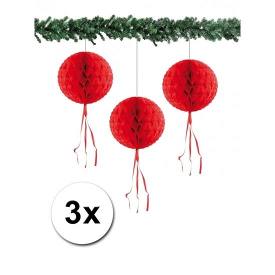 Papieren kerstballen 30 cm rood 3 stuks