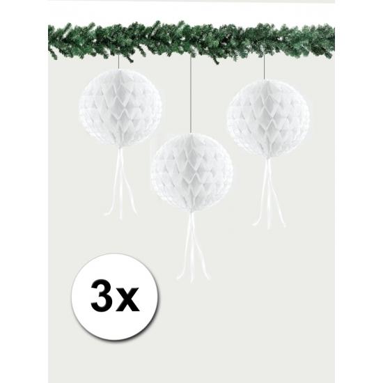 Papieren kerstballen 30 cm wit 3 stuks