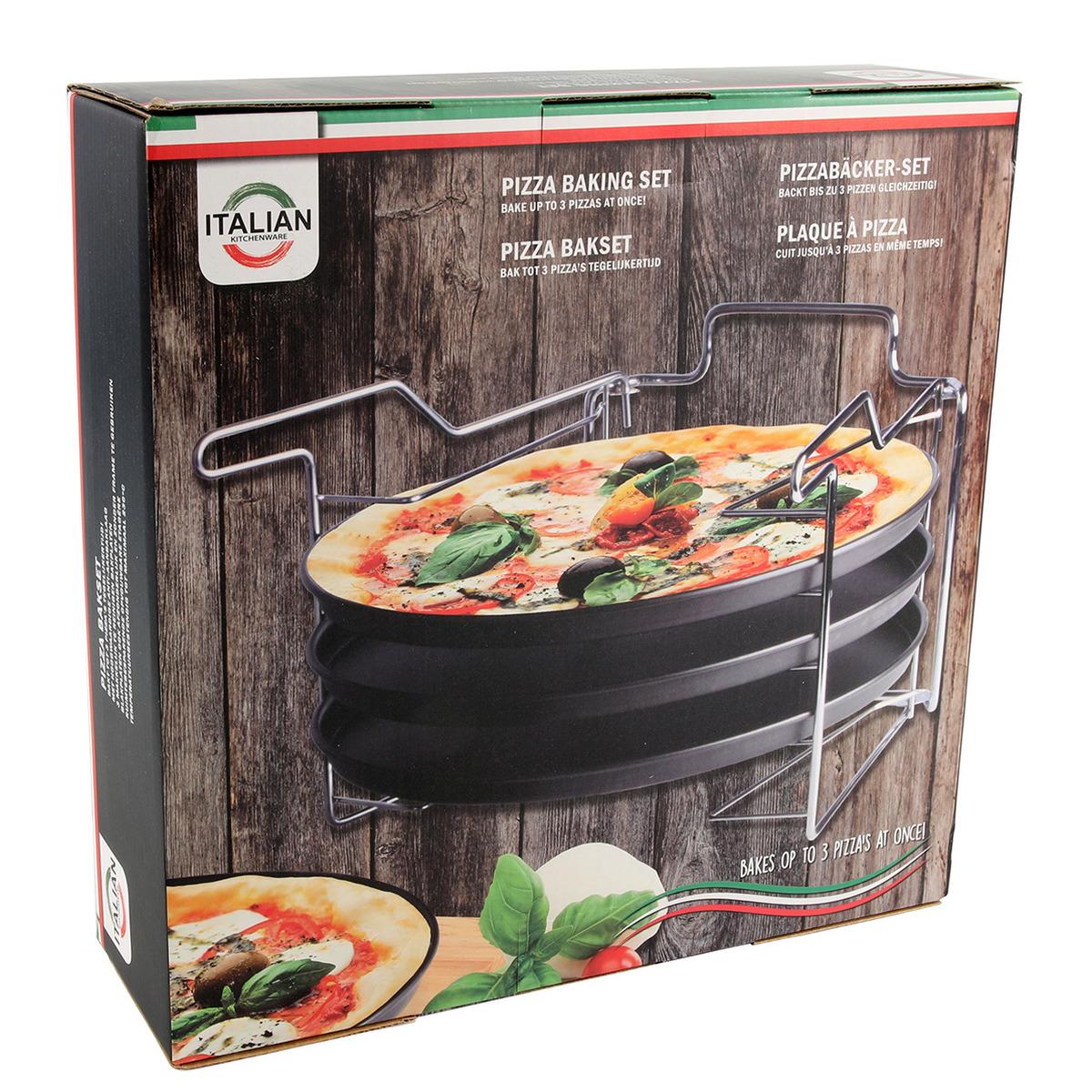 Pizzaplaat bakset met 3 bakplaten 29 cm