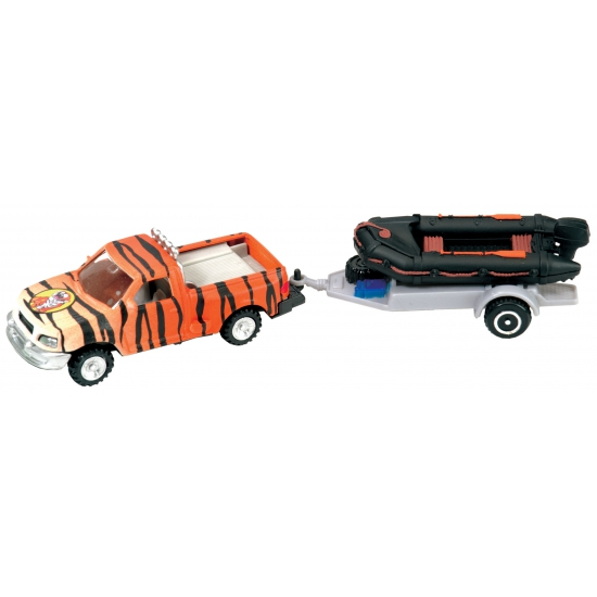 Plastic tijgerprint auto met speedboot
