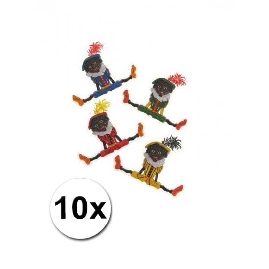Plastic Zwarte Pieten versiering 10x