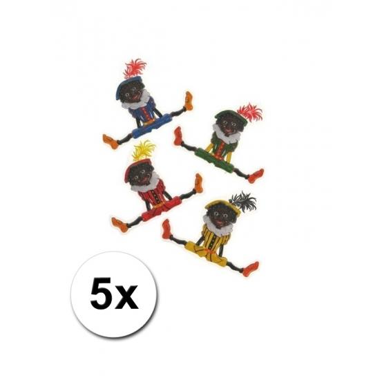 Plastic Zwarte Pieten versiering 5x