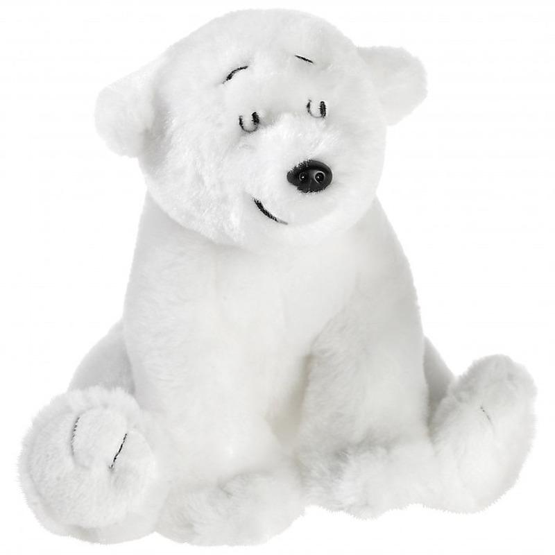 Pooldieren knuffels de kleine ijsbeer wit 15 cm