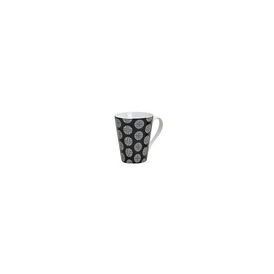 Retro koffie mok rondjes zwart 250 ml