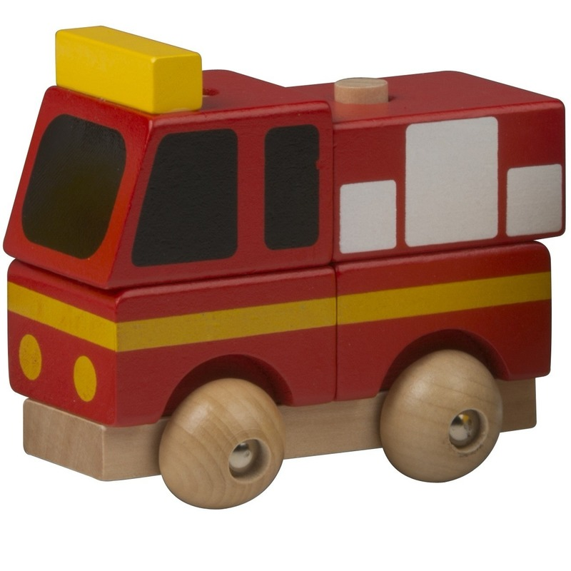 Rode brandweer auto hout 9 cm