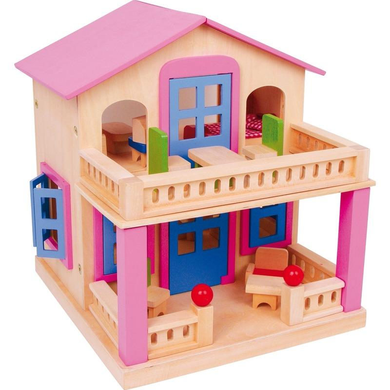 Roze geschilderd poppenhuis Clara