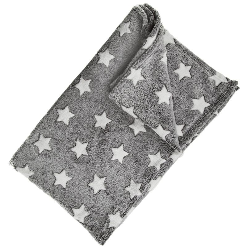 Sterren dekentje grijs voor de babykamer 80 x 80 cm