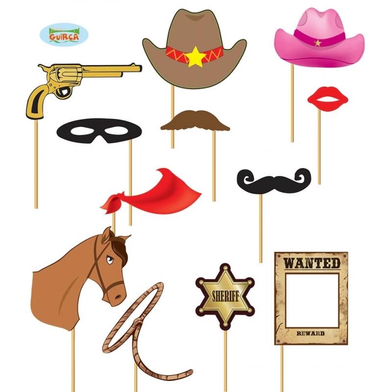 Vrijgezellenfeest foto prop setje cowboy 12 delig