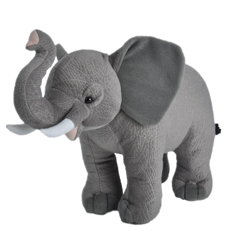 Wilde dieren knuffels Afrikaanse olifant grijs 35 cm