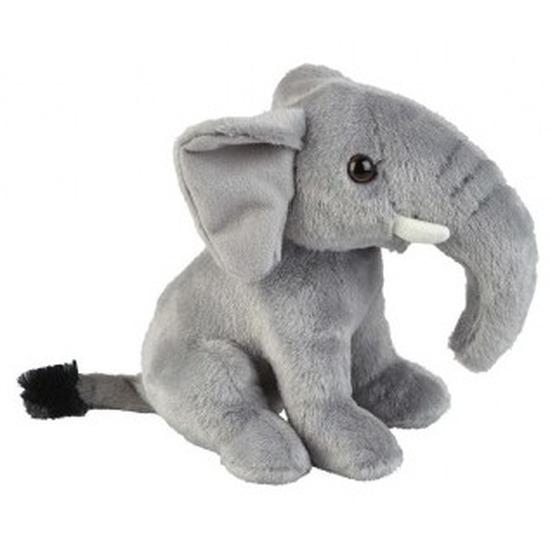 Wilde dieren knuffels olifant grijs 18 cm