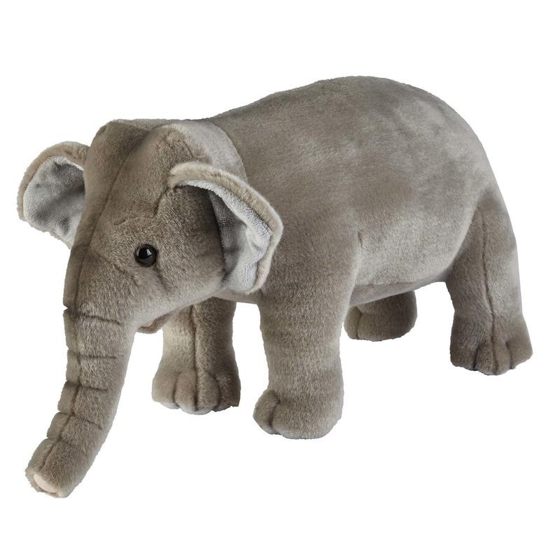 Wilde dieren knuffels olifant grijs 28 cm