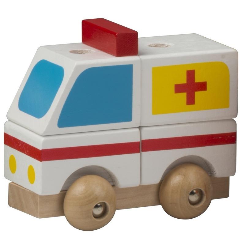 Witte ambulance hout 9 cm