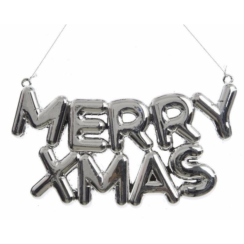 Zilveren raamdecoratie hanger Merry Xmas 20 cm