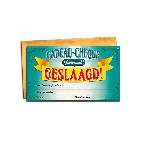 Cadeau cheque voor de geslaagde Cadeau /feestartikelen/feestartikelen-algemeen/kado-cheques